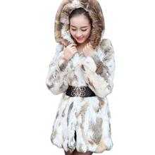 Free Shipping Genuine Rabbit Fur Coat with hood raccoon fur rabbit fur jacket Women Winter Rabbit Fur Waistcoat plus size cheap Real Fur Wide-waisted REGULAR Full Pelt Raccoon Dog Fur HARPPIHOP Long Thick Warm Fur Covered Button Print Thick (Winter)