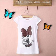 Fashion New Baby Girls Cotton Summer Tops White Sequined Print casual T-Shirts 3-8Y