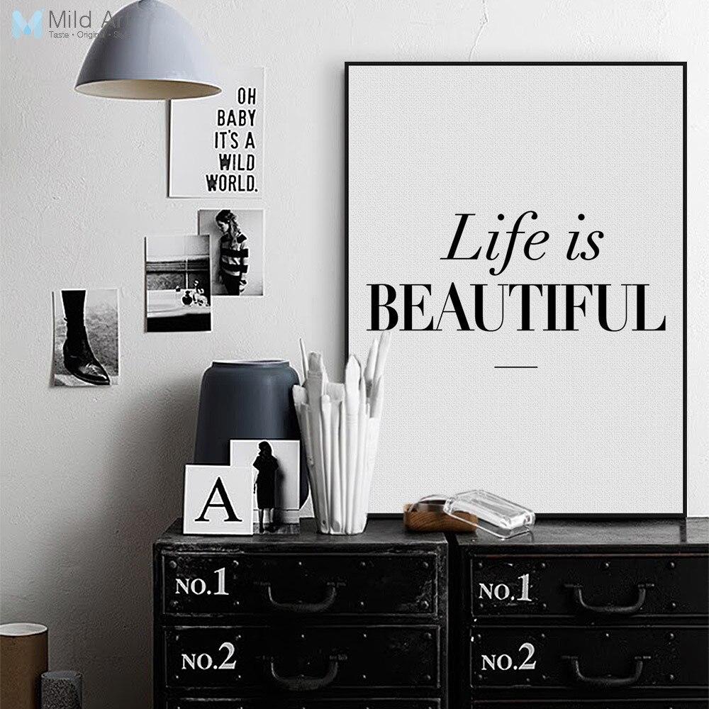 Černá bílá Minimalistický život je krásný Citáty Plakát Tisk Nástěnné umění Skandinávský Obývací pokoj Dekor Obraz na plátně Bez rámečku