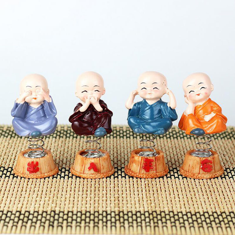 4pcs /Set of Creative Car Ornaments Four Do Not ShakeThe Head Little Cute Monk Car Interior Decorations Auto Accessories Gift