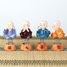 4pcs /Set of Creative Car Ornaments Four Do Not ShakeThe Head Little Cute Monk Interior Decorations Auto Accessories Gift