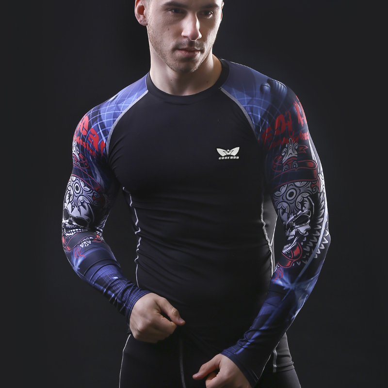 Men Compression Long sleeve Breathable Quick Dry T Shirts Bodybuilding Weight lifting Base Layer Fitness Tight Tops T-shirt
