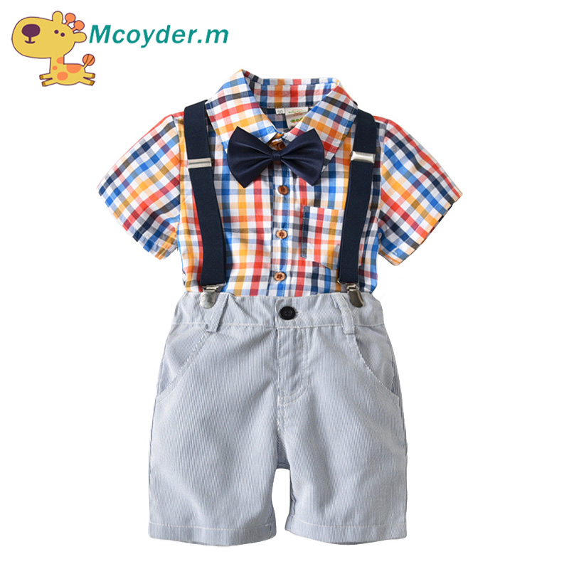 Toddler Boys Clothing Set Summer Baby Suit Shorts Plaid Shirt Children Kid Clothes Suits Formal Wedding Party Costume boys formal plaid suit wedding clothes fashion children party clothing sets spring autumn baby classic gift costume kid hot sale