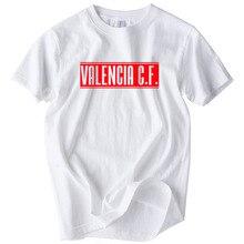 ¡Verano de 2018 moda ESPAÑA Valencia Cf T camisa los hombres de blanco  o-Cuello Casual de manga corta imprimir cartas C.F! 1c68782ec41