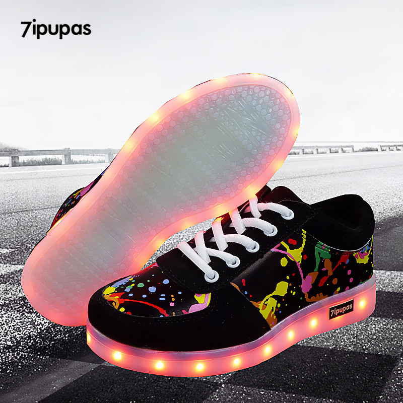 Black Rechargeable 7-Color LED Light Up Boys Girls Unisex Kids Sneakers Size 11
