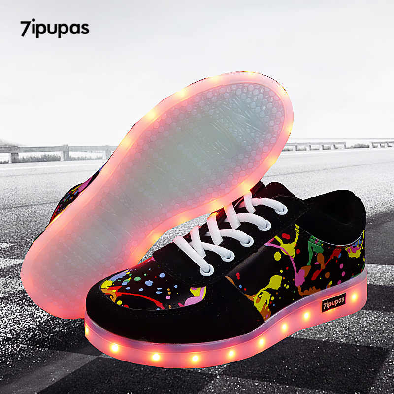 7ipupas Led light up รองเท้าเด็กใหม่ 11 สีส่องสว่างรองเท้าผ้าใบ usb ชาร์จ unisex เด็กสาว Graffiti led รองเท้า