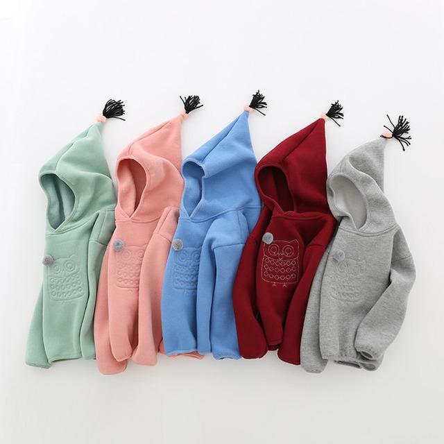 2017 Bebê camisola de lã outono inverno Casaco Bebê Jaqueta Com Capuz Roupas de criança com um capuz outerwear Casual Sweatershirt
