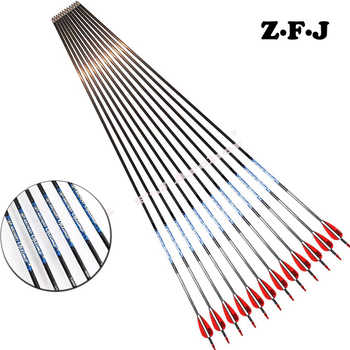 6/12pc Pure Carbon arrow Sp500 600 700 800 900 1000 ID 4.2 mm Plastic vane Stainless Steel Point Recurve Bow Hunting Shooting - DISCOUNT ITEM  35% OFF Sports & Entertainment