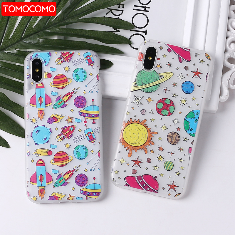 Phone Bags & Cases For Iphone 5s 6s 6plus 7plus 7 8 8plus X Xs Max Samsung Galaxy Space Love Moon Astronaut Rocket Cat Soft Silicone Printed Case Agreeable To Taste Half-wrapped Case