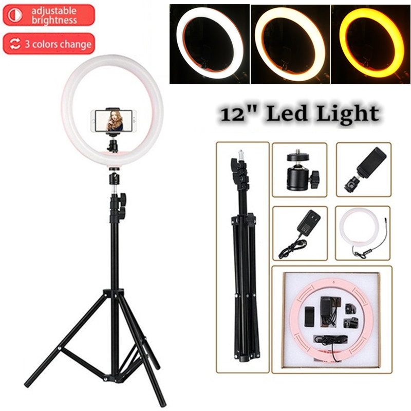 "Tycipy LED Ring Light 2700K-5500K 24W Photo Studio 12"" Light Photography Dimmable Video for Smartphone with Tripod Phone Holder(China)"