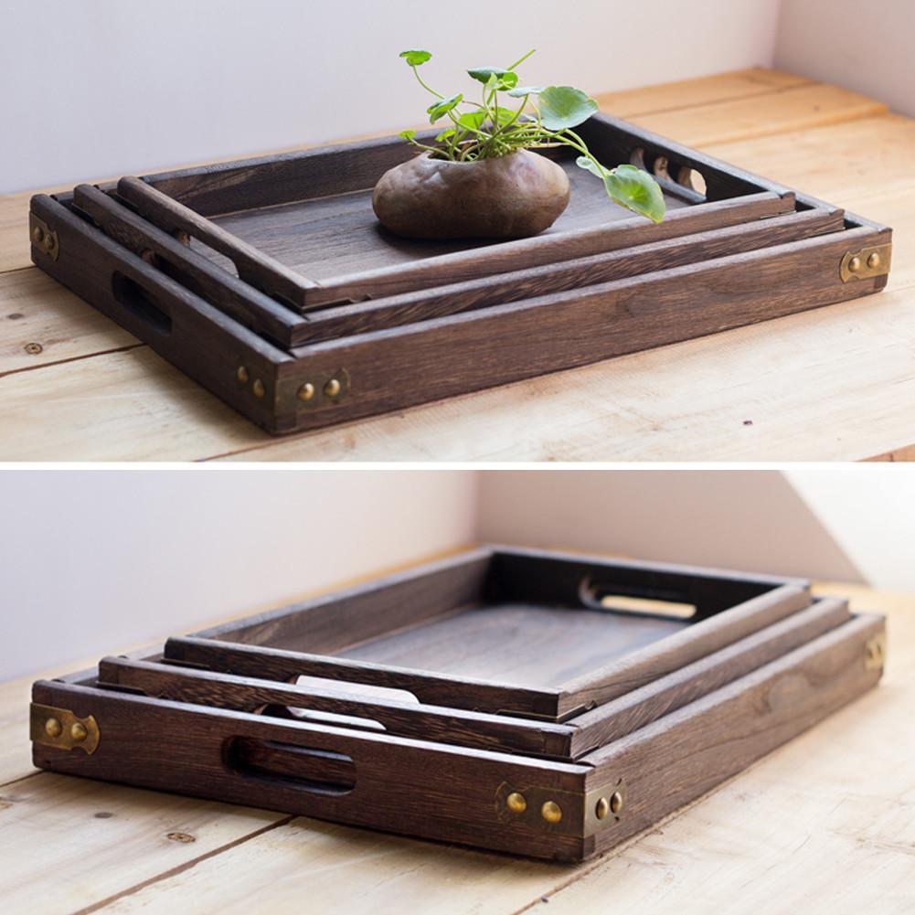 Ретро твердый деревянный сервировочный поднос столовая посуда для завтрака поднос для чая прямоугольная Фруктовая тарелка для закуски тарелки для дома отеля-3