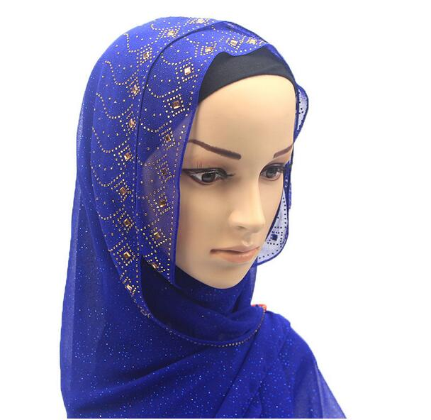 80*180CM Gold Sequins voile Islamic Long Scarf Big Size Solid color 2020 new style Fashion per lot Muslim Hijabs