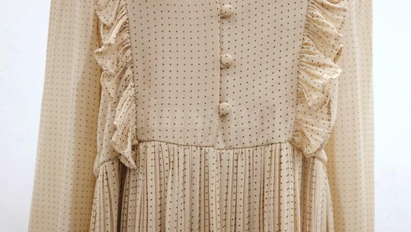 BGTEEVER Vintage O-neck Ruffles Chiffon Women Dress Flare Sleeve Polka Dot Lace Up Female Dress Two Layers Pleated Vestidos 29