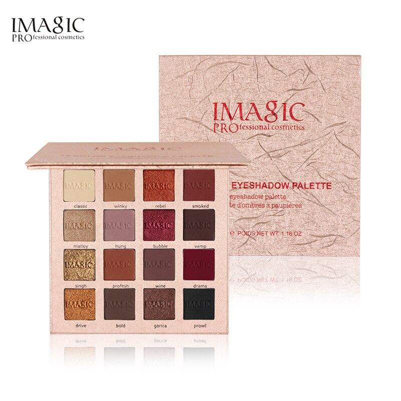 IMAGIC Pigmenti di Colore Dell'annata Impermeabile Marca Eyeshadow Palette 16 Colore Fumoso Nudo Luccichio Opaca di Trucco Eye Shadow Palette