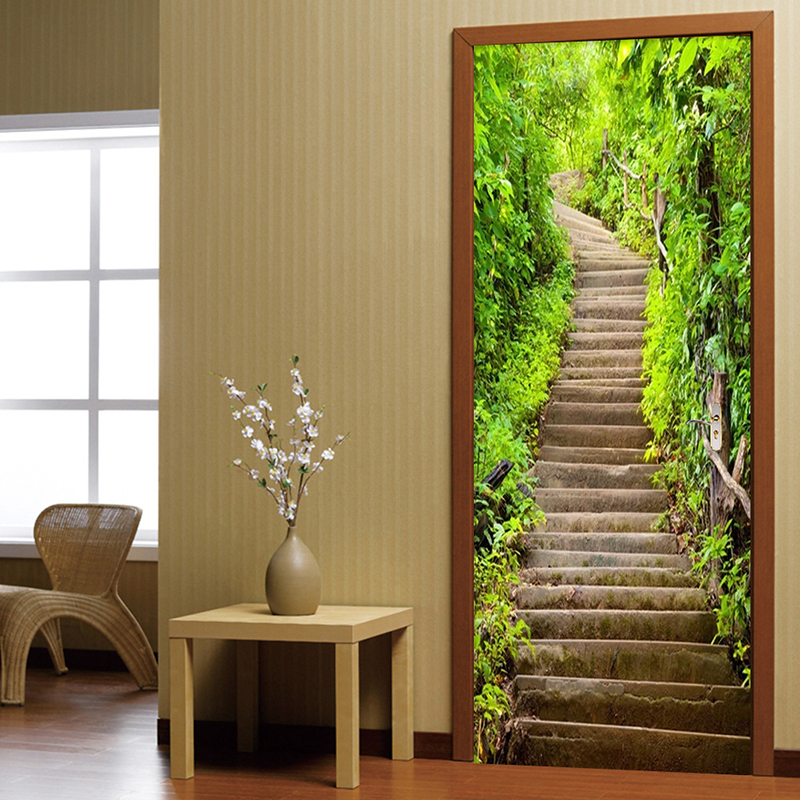 Modern Simple Green Forest Path Stone Stairs Landscape Photo Murals Wallpaper Living Room Study Door Sticker PVC Wall Papers 3 D