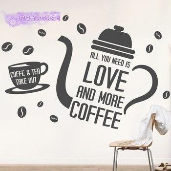 Mur De Café Décor | Café Autocollant Lettre Décalcomanie Café Affiche Vinyle Art Stickers Muraux Pegatina Quadro Parede Décor Mural Café Autocollant