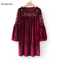 SheMujerSky Women Embroidery Floral Dress Autumn Long Sleeve Velvet Dress 2018 ropa mujer