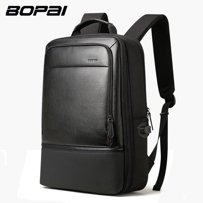 BOPAI Leather Backpack Enlarge USB Charging 15.6inch Men Laptop Backpack Anti theft High Capacity Waterproof Travel Backpack bopai brand backpack usb charging backpack laptop shoulders anti theft usb backpack 15 inch laptop backpack men waterproof