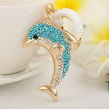 Кристально голубой дельфин брелок брелок мода горный хрусталь животных металл сеть женщин подарок подвески шкентель мешка ювелирных изделий
