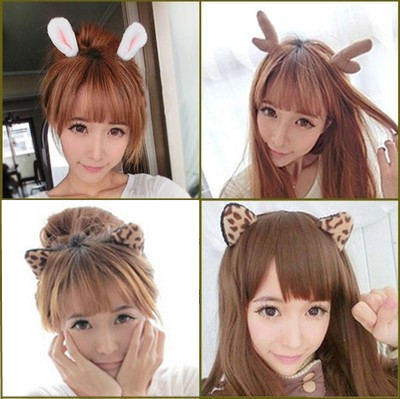 The cat ear clip rabbit ear hair headwear Christmas antlers hair hoop hairpin head hoop is small adorn article halloween party zombie skull skeleton hand bone claw hairpin punk hair clip for women girl hair accessories headwear 1 pcs