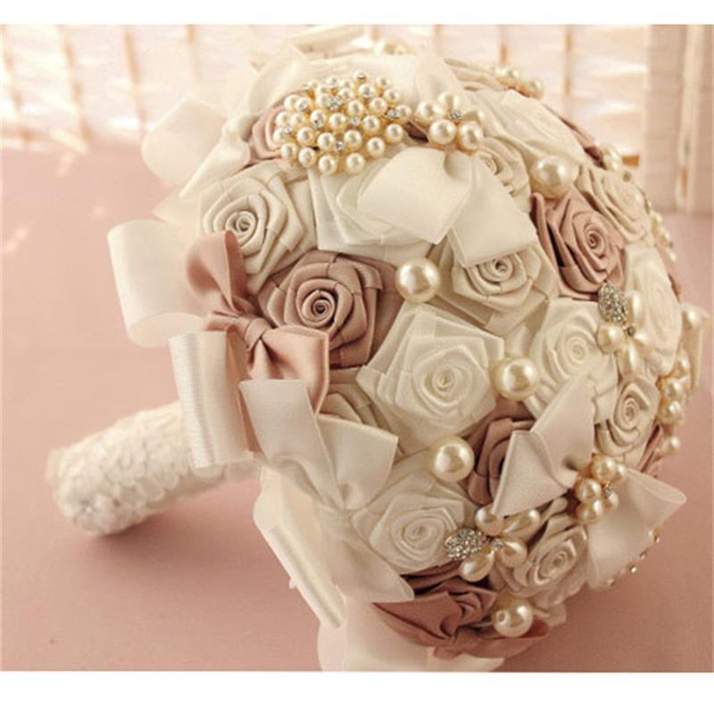 wedding bouquet bridal brooch pearls posy for bride handmade silk pe flowers home wedding. Black Bedroom Furniture Sets. Home Design Ideas