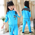 2016 Spring Wear Girls clothing set sports suit set fox clothing children outerwear tracksuit clothes active pants coat 2pcs