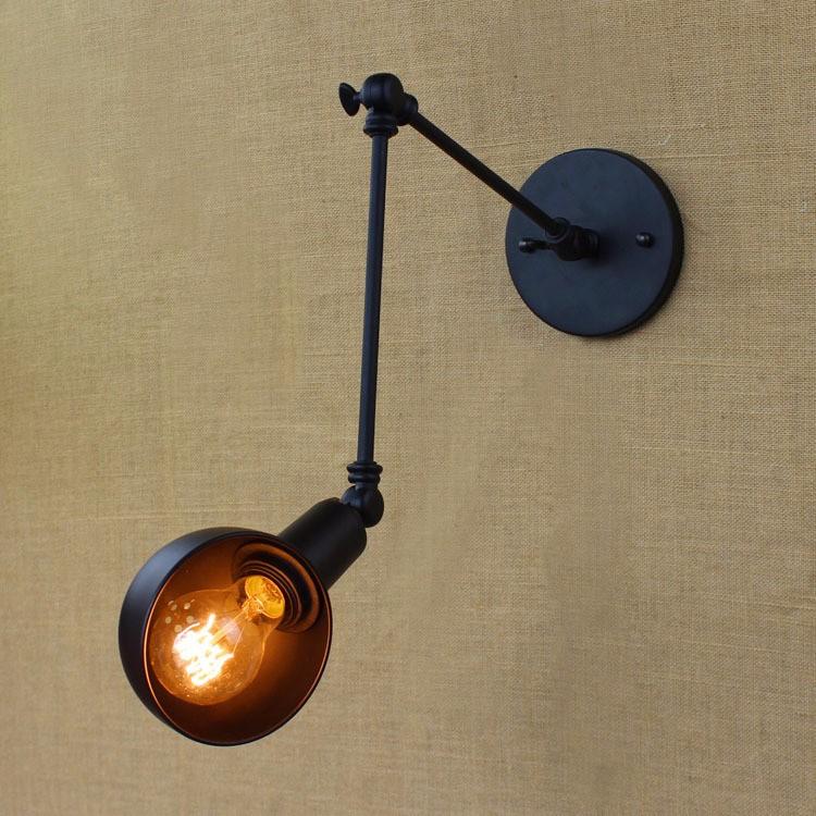 E27 Base Retro Loft Industrial LED Vintage Wall Lamp light Wall Sconce Adjustable Handle Metal Rustic Loft Light Sconce Fixtures (5)