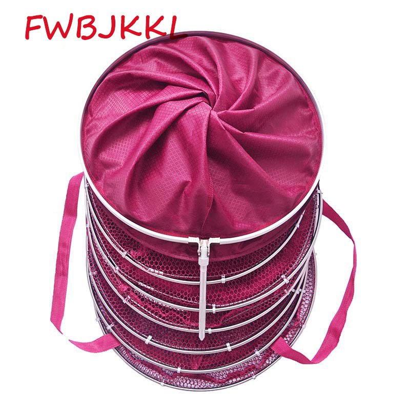 Diameter 25 33 40cm Length 2m Double Stainless Steel Ring 5 Layer Collapsible Fish Net Squid