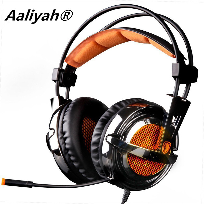 ФОТО Aaliyah  A6 7.1 Surround Sound USB Gaming Headphones Professional Over-Ear Game Headset Vibration Wired Mic for Computer Game