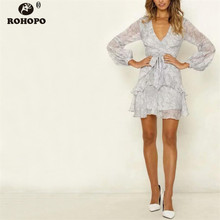 ROHOPO Autumn Ruffles Chiffon Dress Gray Pink Long Sleeve Floral Drawing Belt Wrap Top Elegant Pleated Vestido #YY288C