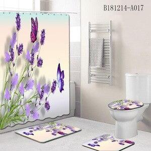 Image 3 - 4Pcs/Set Elegant Flowers Pattern Shower Curtain Mat Set Non Slip Rugs Carpet for Bathroom Toilet Bath