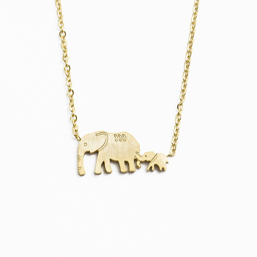 Cute Elephant Pendant Necklace Simple Clavicle Chain Tiny Lucky Animal Necklace Choker for Women Girls Jewelry Gifts