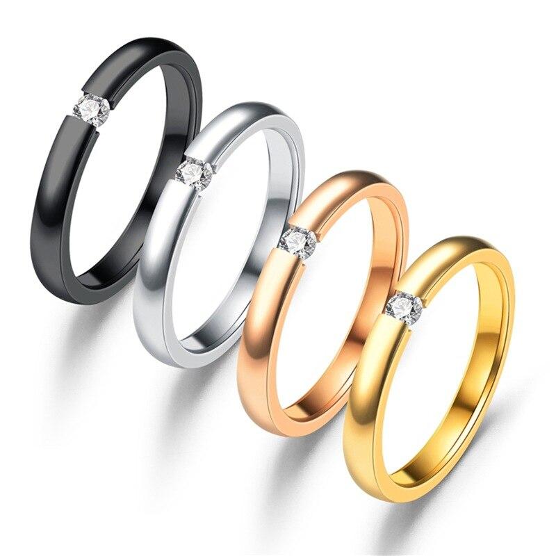 Камень CZ Пара кольцо микро декор циркон Нержавеющаясталь покрытие любителей кольцо Цвет сохранение в течение длительного времени