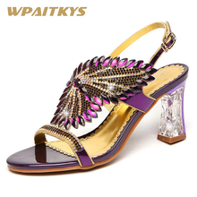 Exquisite Rhinestone Sandals Women Shoes Fashion Golden Purple Blue Three Colors Available Crystal Leather Casual