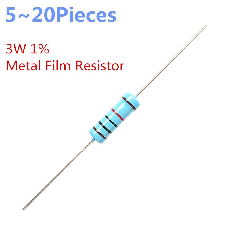 5pcs 22 ohm 1/% 3W Metal Film Resistor 3 Watts 22R.