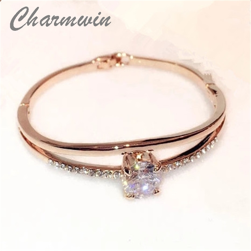 Charmwin Exquisite Hollow Crystal Bangles Fashion Luxury Rose Gold Color Bracelet &Bangle Jewelry Women MCS00185 stylish golden hollow rounded rectangle hasp bracelet for women