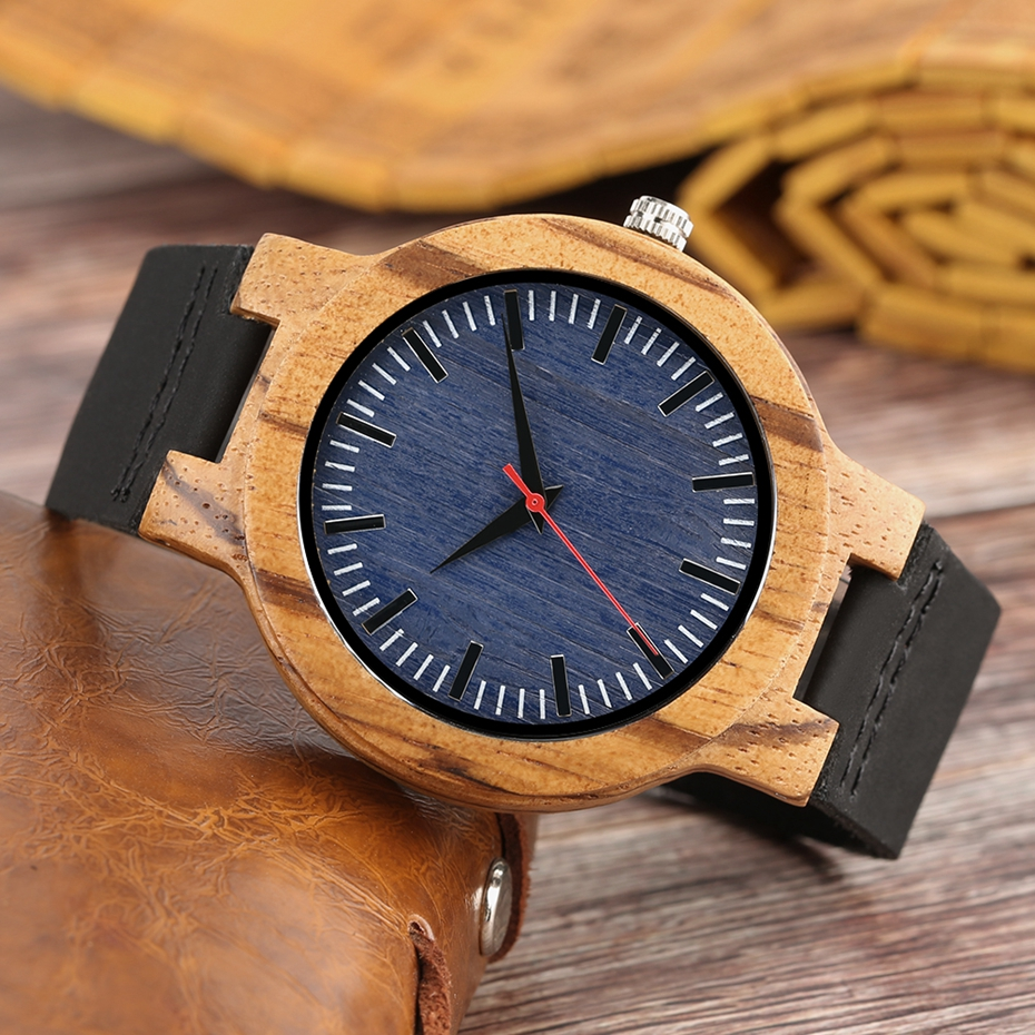 Retro Wood Watch Men Unique Navy Dial Bamboo Watches Black Leather Military Sports Clock Male Quartz Wrist Watch Reloj Hombre 2018 2019 (7)