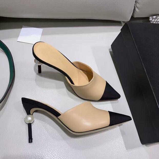 2019 Nude Pumps Schuhe Birne Maultiere Sexy Spitz High Heels Sandalen Frauen Sling Back Sandalen Runway Mischfarben Größe 34-40