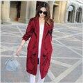Moda europa nuevo estilo suéter mujeres del otoño impreso chaqueta de lana para hacer punto flojo medio largo delgado capa del suéter G2172