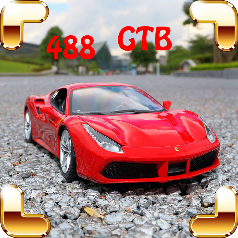 Special Version Gift 488GTB 1/18 Sports Model Scale Vehicle Car Metallic Alloy Decoration Toys Luxury Collection Fans Present ariva ar 488