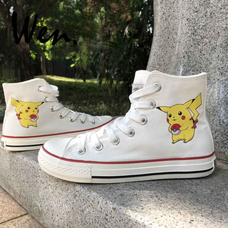 Wen Anime Skateboarding Shoes White Black 2 Colors Design Pokemon Pikachu High Top Canvas Sneakers for Mens Womens Plimsolls Wen Anime Skateboarding Shoes White Black 2 Colors Design Pokemon Pikachu High Top Canvas Sneakers for Mens Womens Plimsolls