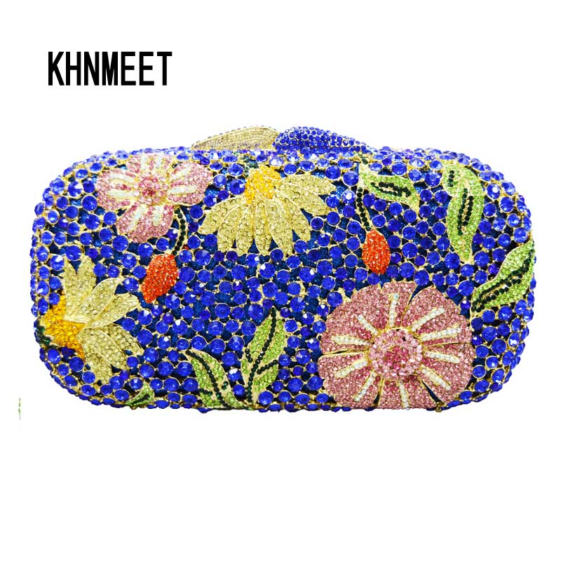 Blue Women sparkly bling evening bags Luxury crystal clutch bags ladies prom Party purse floral pattern soiree pochette SC132