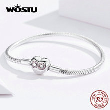 Женский браслет с сердечком WOSTU, браслет из 100% стерлингового серебра 925 пробы с розовым цирконием, ювелирное изделие FIB142
