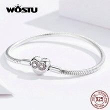 Wostu coração infinito amor pulseiras 100% 925 prata esterlina rosa zircão charme pulseiras pulseira para mulheres moda jóias fib142