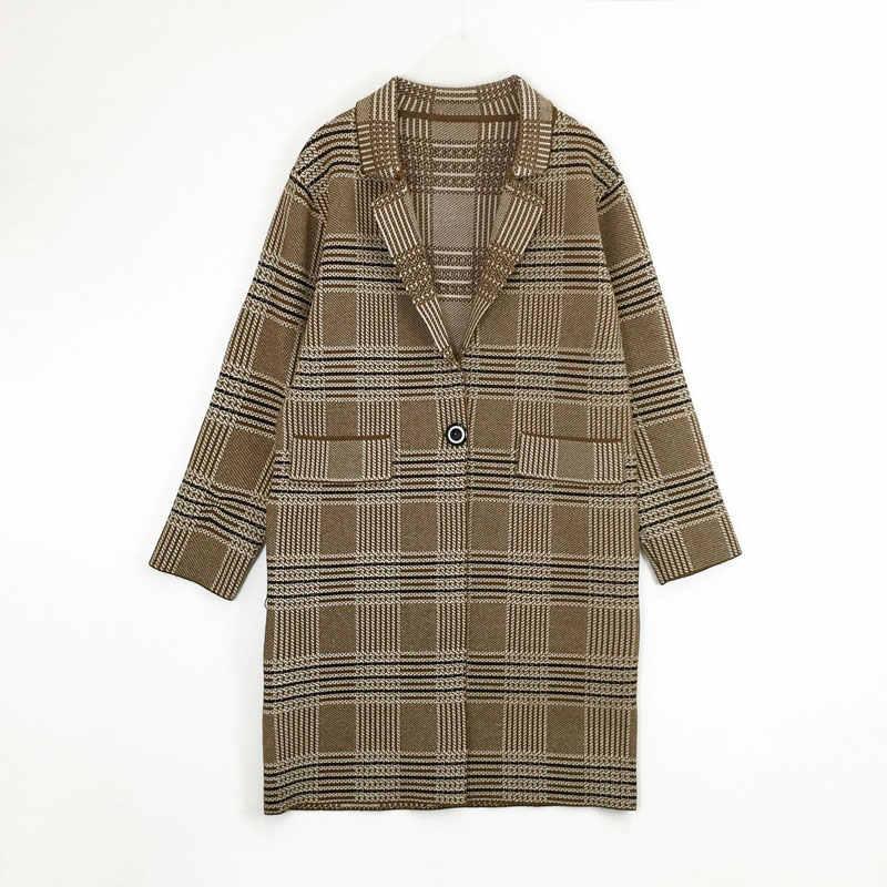 HEE GRAND/осень 2019, клетчатые кардиганы, женские длинные трикотажные тренчи, пальто с длинным рукавом, Свитера с одной пуговицей, серые верхняя одежда WWF907