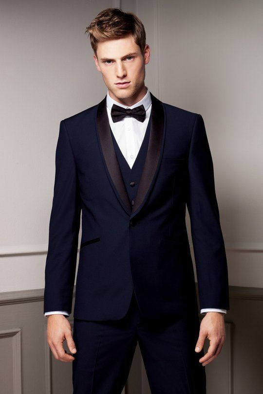 2016 Navy Blue Mens Wedding Prom Suits 3 Pieces Groom Tuxedos blazer ...