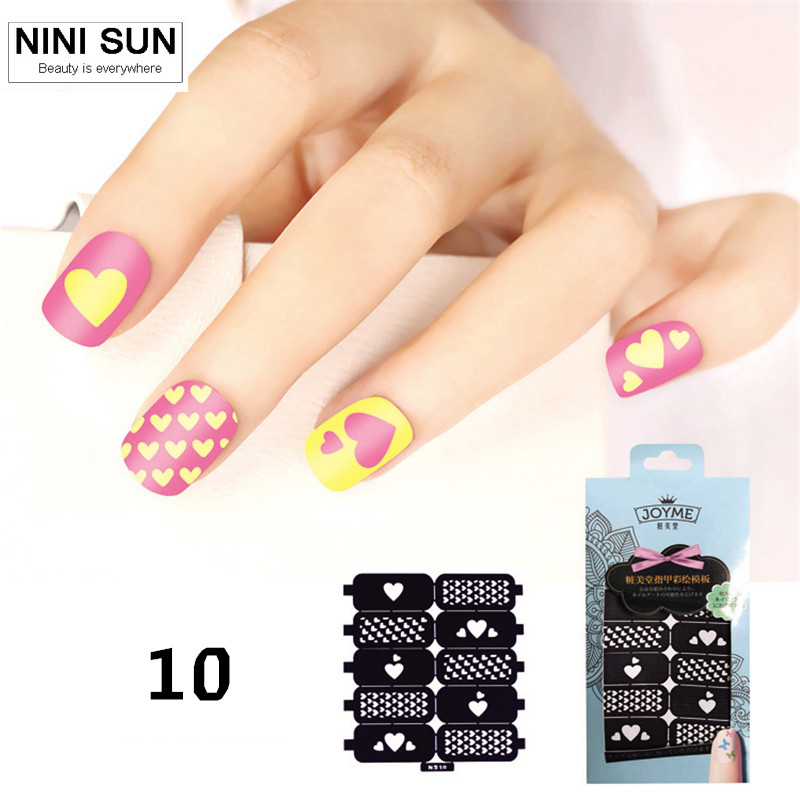 ✓Nails Art Painting Nail Stencils Nail Hollow Template sticker ...
