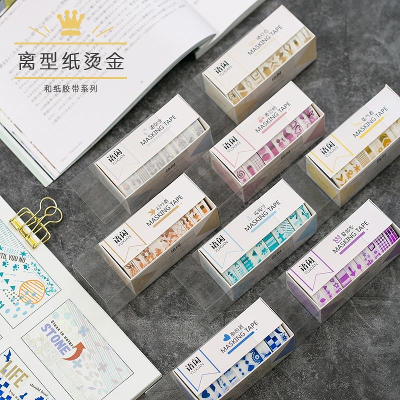 8pcs/pack Geometric Gilding Washi Tape Decorative Adhesive Tape Diy Scrapbooking Sticker Label Stationery School Office Supply