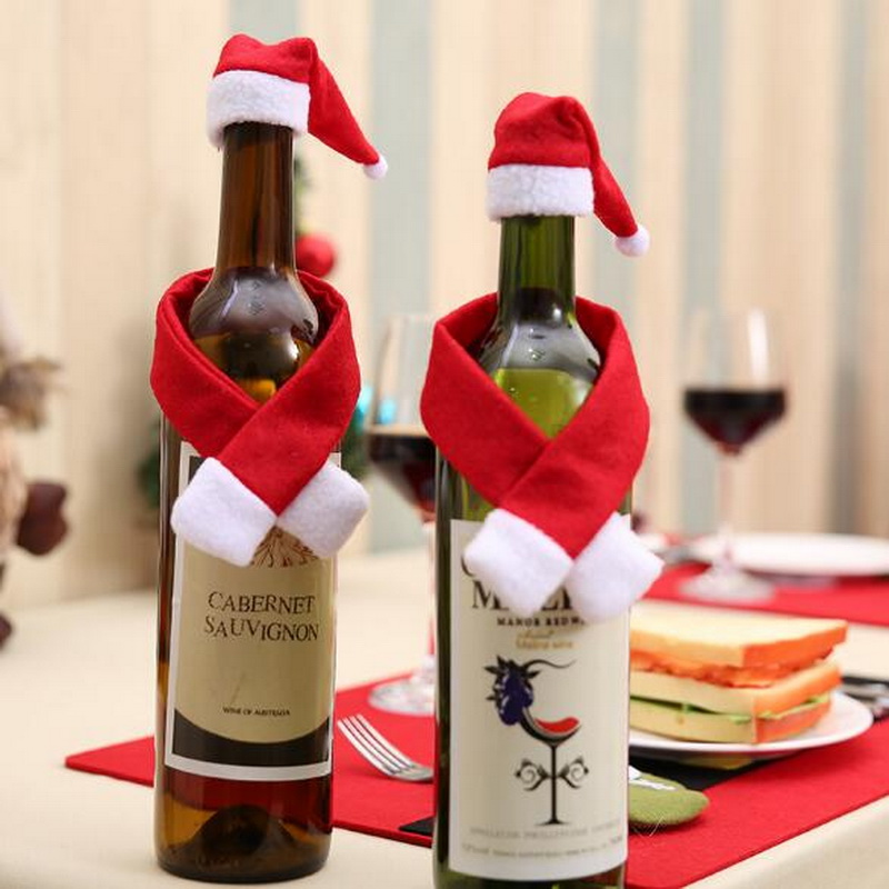 Christmas Creative Home Supplies Non Woven Scarf + Hat New Year Hotel Home Restaurant Table Wine Bottle Decorate
