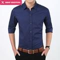 2016 Новый Осенняя Мода Марка Одежда Slim Fit С Длинным Рукавом рубашка Мужчины Горошек Случайные Люди Рубашки Социальной Плюс Размер 5xl, a2